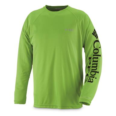 Columbia Men's PFG Terminal Tackle Long Sleeve Shirt, Green Mamba/Black (front)
