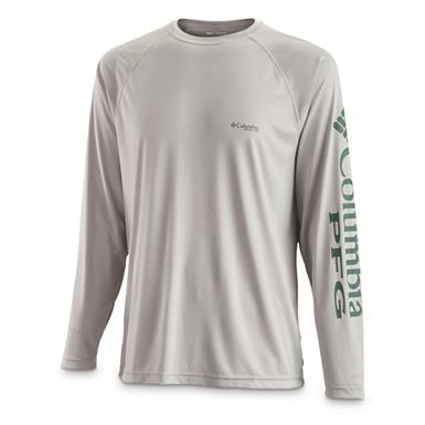 Columbia Men's PFG Terminal Tackle Long Sleeve Shirt, Cool Gray/Thyme Green Logo