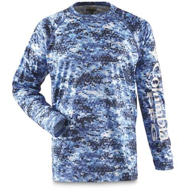 Columbia PFG Men's Super Terminal Tackle Long Sleeve Shirt, Vivid Blue Digi