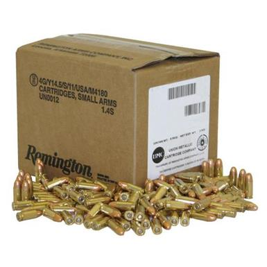 Remington, 9mm Luger, FMC, 115 Grain, 1,000 Rounds, Loose Bulk