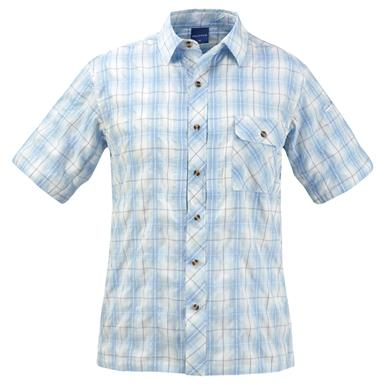 Propper Men's Covert Button-Up Short Sleeve Shirt, Light Blue Plaid