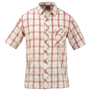 Propper Men's Covert Button-Up Short Sleeve Shirt, Brick Plaid
