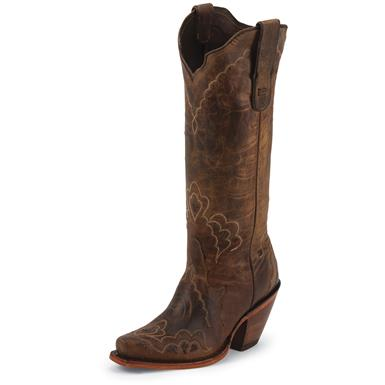 Tony Lama Women's Black Label Worn Goat Western Boots, Brown