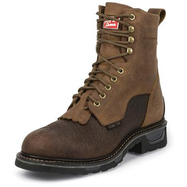 Tony Lama Men's Sierra Badlands TLX Western Waterproof Comp Toe Work Boots, Brown