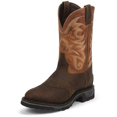 Tony Lama Men's Sierra Badlands Waterproof TLX Performance Western Work Boots, Brown