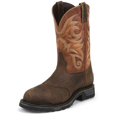 Tony Lama Men's Sierra Badlands Waterproof TLX Western Comp Toe Work Boots, Brown