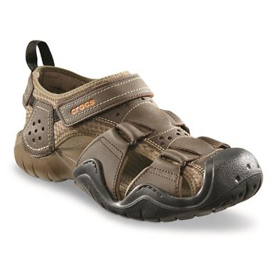 Crocs Men's Swiftwater Leather 2.0 Fisherman Sandals, Espresso/Walnut
