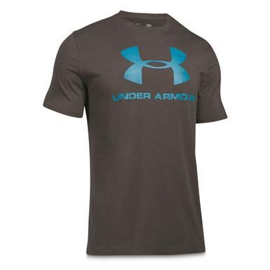 Under Armour Men's Sportstyle Logo T-Shirt, Charcoal Medium Heat/Blue Shift