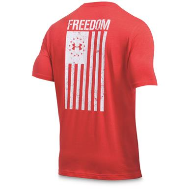 Under Armour Men's Freedom Flag Short Sleeve Tee, Red/White