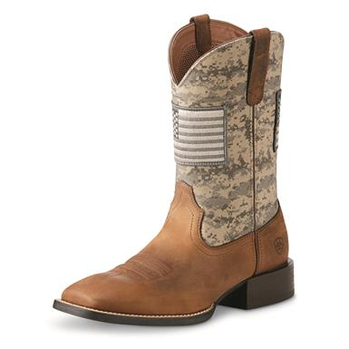 Ariat Men's Sport Patriot Square Toe Western Boots, Brown/Sage Camo
