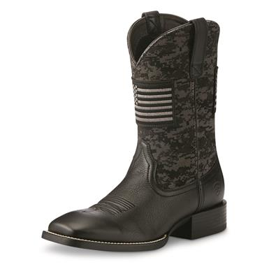 Ariat Men's Sport Patriot Square Toe Western Boots, Black Camo