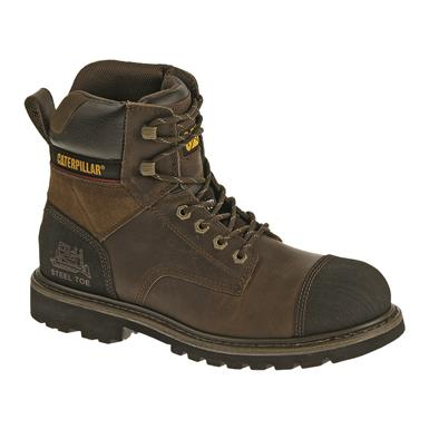 "Cat Footwear Men's Traction 6"" Steel Toe Work Boots, Dark Brown"