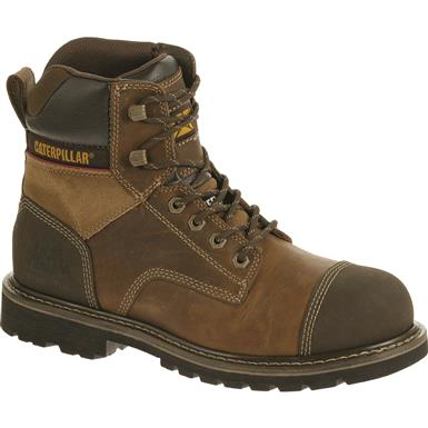 "Cat Footwear Men's Traction 6"" Steel Toe Work Boots, Dark Beige"