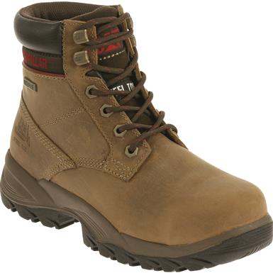 "Cat Women's Dryverse 6"" Waterproof Steel Toe Work Boots, Dark Beige"