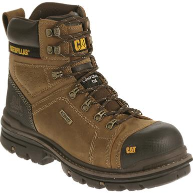 "Cat Men's Hauler 6"" Waterproof Composite Toe Work Boots, Dark Beige"