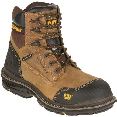 "Cat Men's Fabricate 6"" Tough Waterproof Composite Toe Work Boots, Dark Beige"