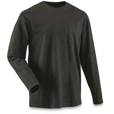 Guide Gear Men's Stain Kicker Long Sleeve Pocket T Shirt With Teflon, Black