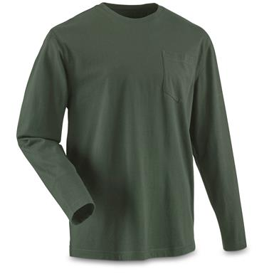 Guide Gear Men's Stain Kicker Long Sleeve Pocket T Shirt With Teflon, Pine