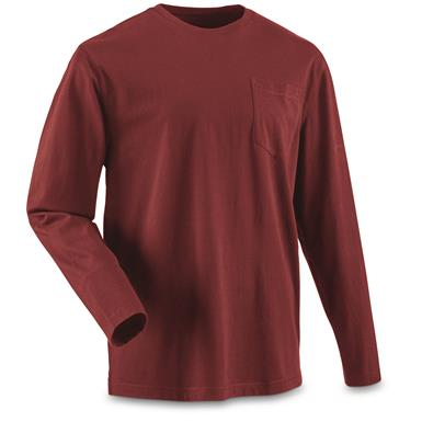 Guide Gear Men's Stain Kicker Long Sleeve Pocket T Shirt With Teflon, Red Cardinal