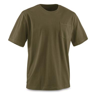 Guide Gear Men's Stain Kicker Short Sleeve Pocket T Shirt With Teflon, Cypress Green