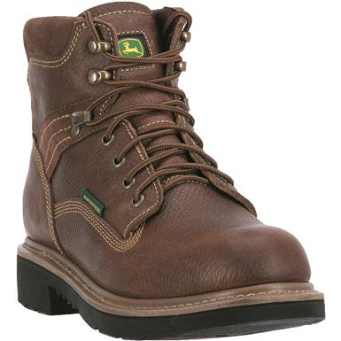 "John Deere Men's Waterproof 6"" Lace-Up Steel Toe Work Boots, Tan / Wheat"