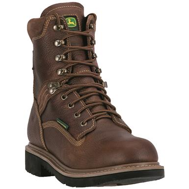 "John Deere Waterproof 8"" Lace-Up Steel Toe Work Boots, Tan / Wheat"