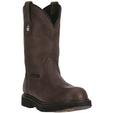 "Mcrae Men's Waterproof 11"" Pull-On Steel Toe Work Boots., Brown"