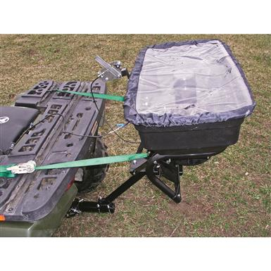 125-lb. capacity poly hopper holds 16 gallons of seed or fertilizer and includes a rain cover