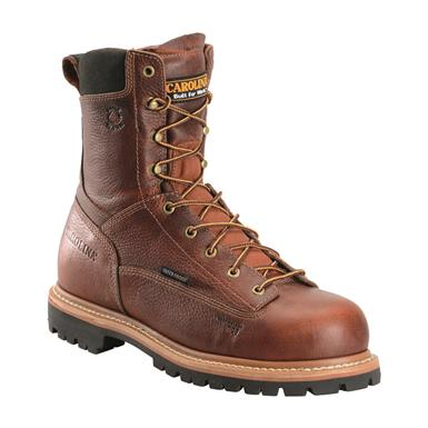 "Carolina Men's 8"" Waterproof Lace to Toe Work Boots, Medium Brown"
