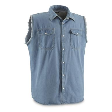 Guide Gear Men's Sleeveless Denim Shirt, Lightwash