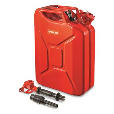 NATO Military Surplus 20L Jerry Can with Nozzle and Adapter, Red
