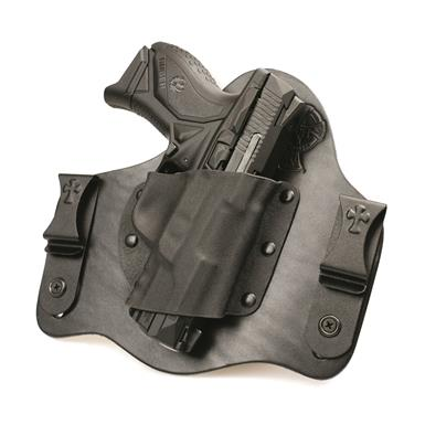 Molded Kydex pocket and premium leather backing are standard on each holster