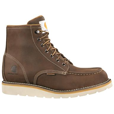 "Carhartt Men's Waterproof 6"" Wedge Work Boots, Brown"