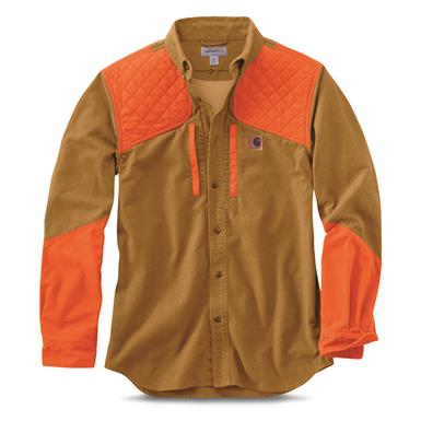 Carhartt Men's Upland Field Shirt, Carhartt Brown/Hunter Orange