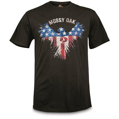 Mossy Oak Men's Flag Eagle T Shirt, Black