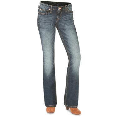 Wrangler Retro Women's Mae Jeans, Low Rise, Medium Stone