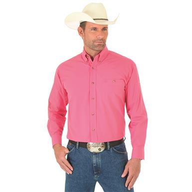 Wrangler George Strait Men's Long Sleeve Button Down Solid Shirt, Pink