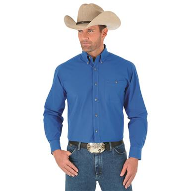 Wrangler George Strait Men's Long Sleeve Button Down Solid Shirt, Royal Blue