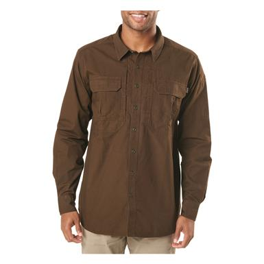 5.11 Tactical Men's Expedition Long Sleeve Shirt, Stone Wash Burnt