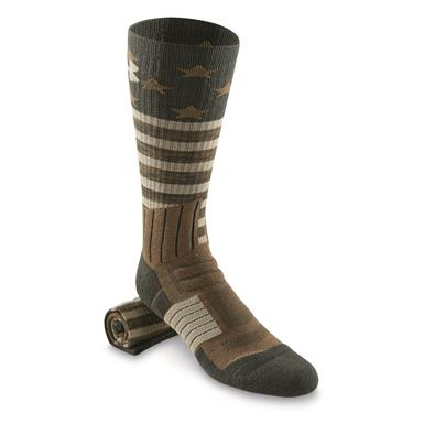 Under Armour Men's Unrivaled Stars and Stripes Crew Socks, Combat Green/Coyote Brown