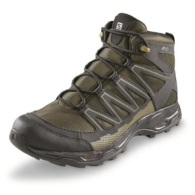 Salomon Men's Pathfinder Mid CSWP Hiking Boots, Black/Olive