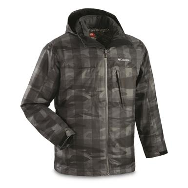 Columbia Men's Whirlibird Insulated Waterproof Interchange Jacket, Black Woodsy Camo