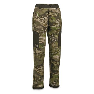 Under Armour Women's Stealth Mid-Season Pants, Forest Camo/Metallic Beige