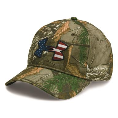 Under Armour Men's Camo BFL Cap, Realtree AP Xtra/Red