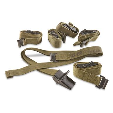 U.S. Military Surplus Cargo Strap, Olive Drab, 6 Pack, Used
