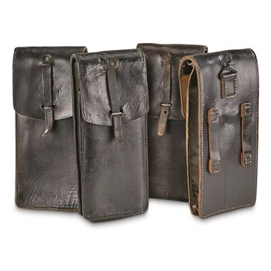 French Military Surplus Leather Mag Pouches, 4 Pack, Used