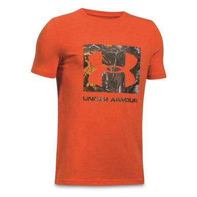Under Armour Boy's Camo Fill Short Sleeve T Shirt, Blast/Realtree AP Xtra