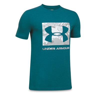 Under Armour Boy's Camo Fill Short Sleeve T Shirt, Bayou Blue/UA Snow Camo