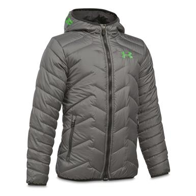 Under Armour Boys' ColdGear Reactor Insulated Hooded Jacket, Graphite/Lime