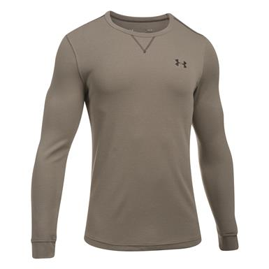 Under Armour Men's Lightweight Waffle Crew Shirt, Stoneleigh Taupe